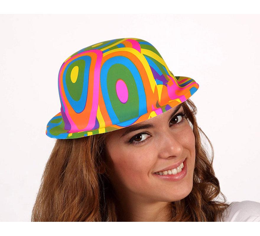 Sombrero Bombín de Payaso multicolor de PVC para adultos.
