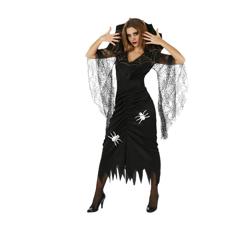 Disfraz de mujer Araña para chicas. Talla Standar M-L 38/42. Incluye vestido y cuello.