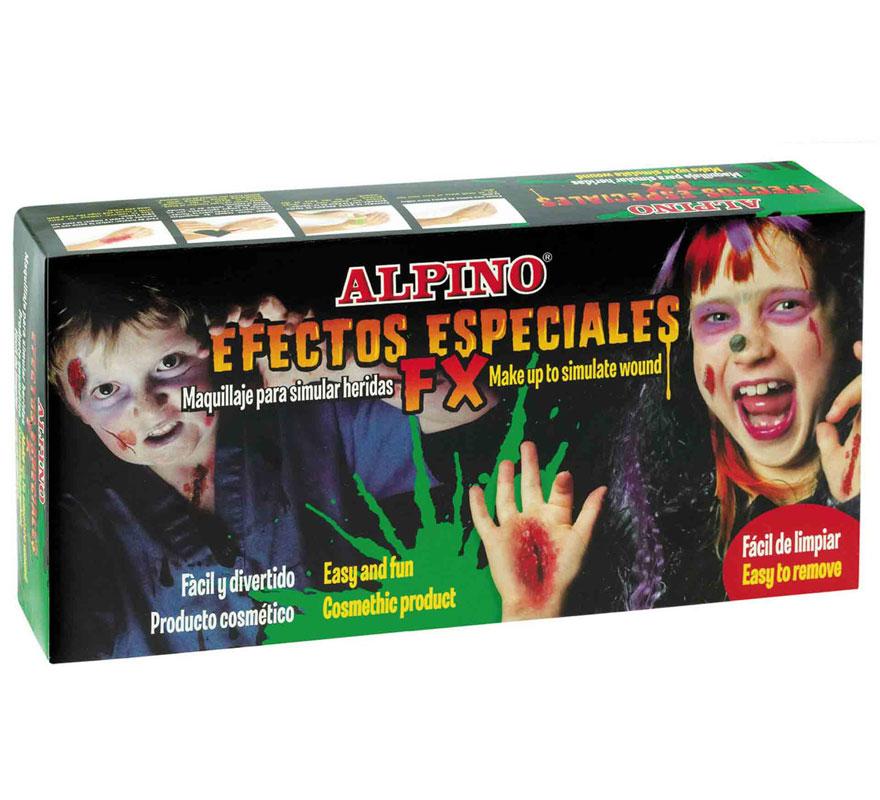 Set de maquillaje de efectos especiales ALPINO. Estuche con 7 botes de maquillaje, efectos especiales. CONTENIDO: 2 botes base, 2 sangre, bote maquillaje negro, verde, marrón, 1 espátula y 1 esponja para aplicación. Para simular heridas. Fácil y divertido.