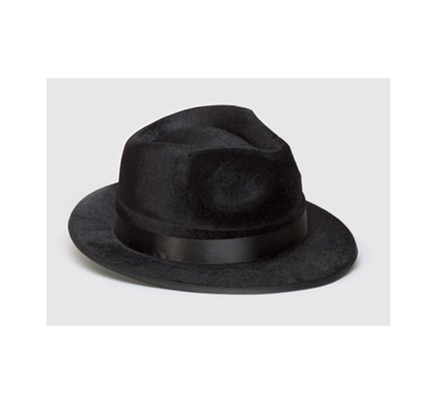 Sombrero de Gángster de fieltro negro.