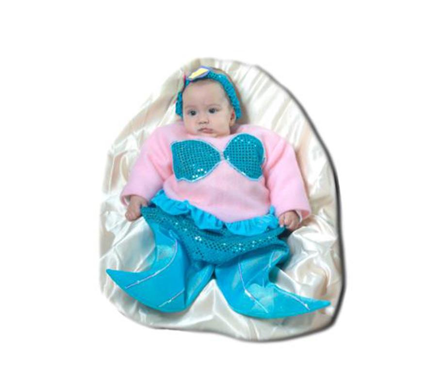Disfraz de Sirenita bebé. Talla de 0 a 6 meses. Alta calidad. Hecho en España. Incluye saquito y diadema.