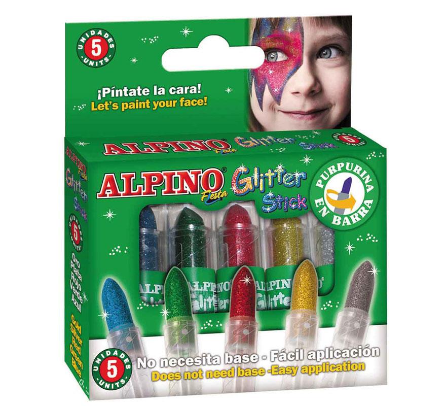 Caja Glitter stick 5 unidades colores surtidos ALPINO. Ideal para Colegios, Guarderías y para Fiestas y Cumpleaños. Producto cosmético. Fácil aplicación, se quita con agua y jabón.