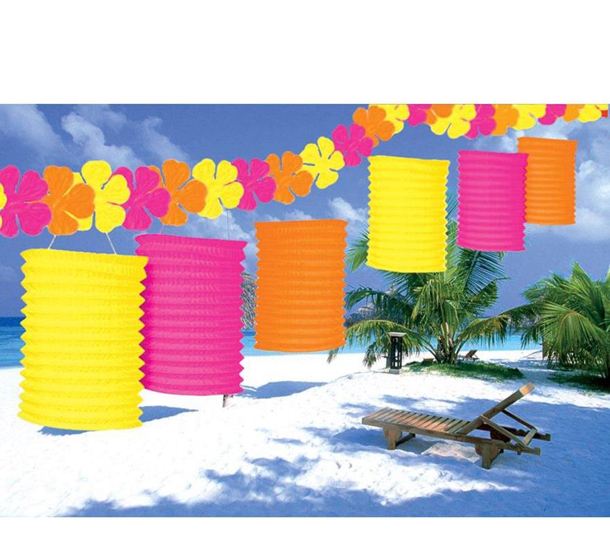 Set de 6 faroles sobre hilo de flor de 300 cm. Ideal para decorar en un a fiesta Hawaiana.