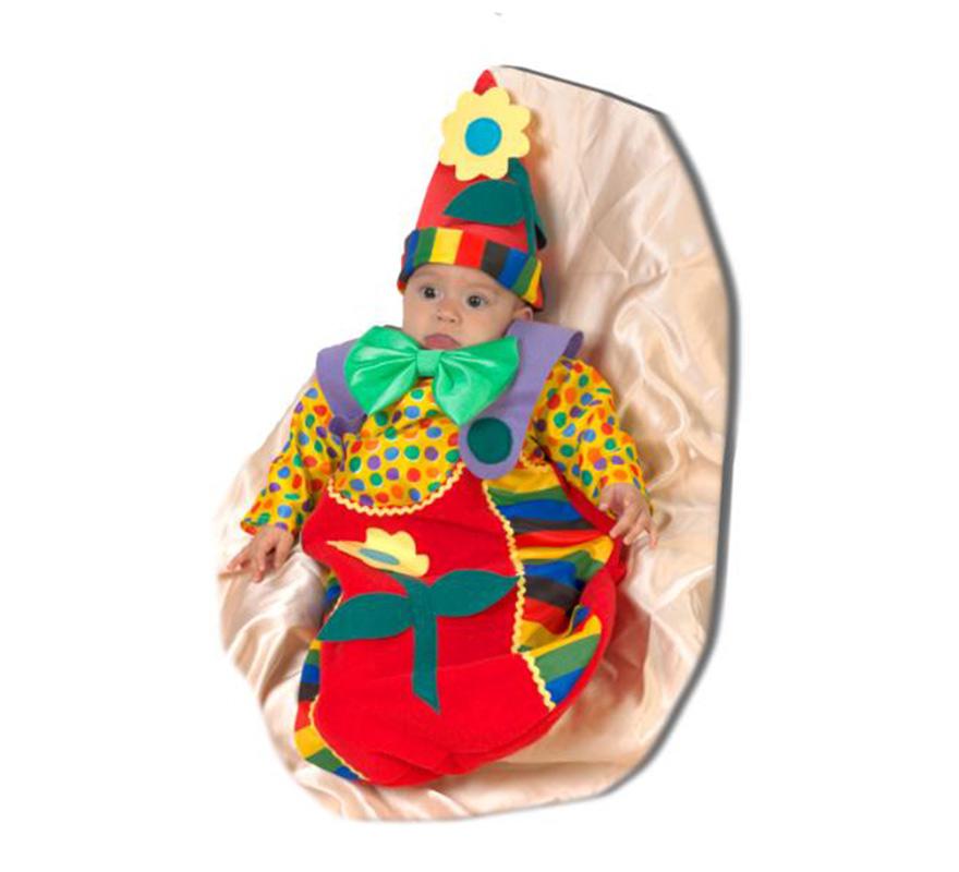 Saquito Payaso bebé. Saquito Payasito. Talla de 0 a 6 meses. Alta calidad. Hecho en España. Incluye saquito y gorro.
