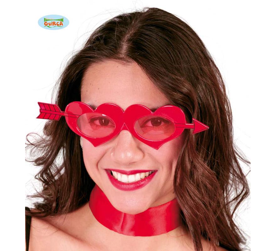 Gafas de Corazón rojas. Talla Universal. Perfectas para el disfraz de Cupido y para Despedidas de Soltera.