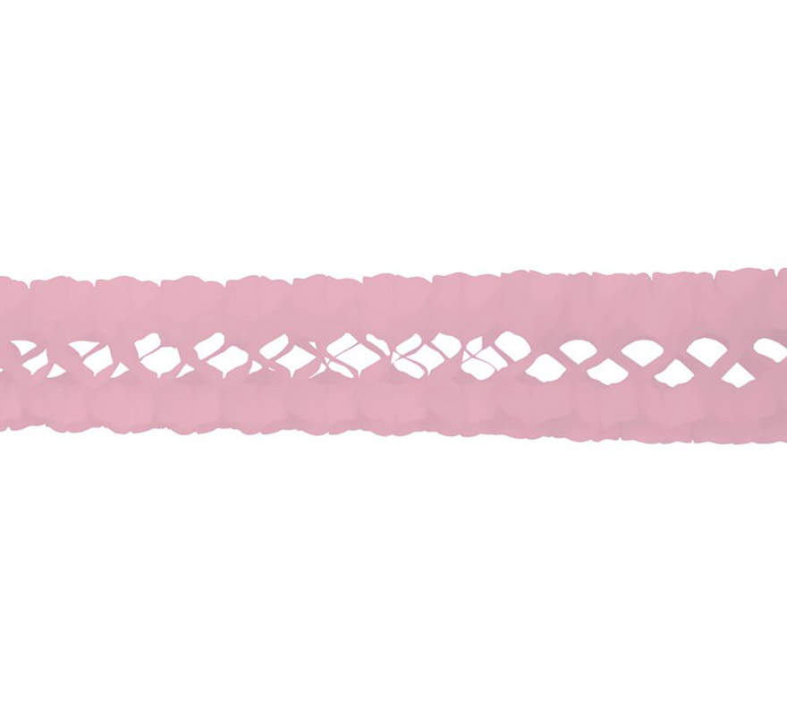 Guirnalda de papel en color rosa pastel de 17x300 cm.