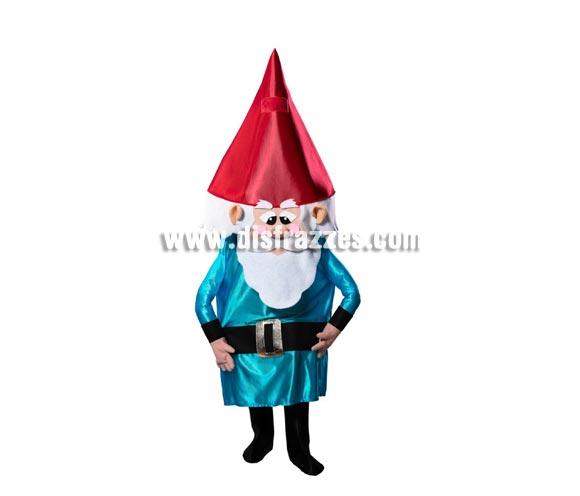 Disfraz de Enanito o Gnomo para adultos. Disponible en talla de hombre (50). Incluye disfraz completo como el de la imagen. cuando te lo pones ves a través de una rejilla que hay en la parte superior del gorro.