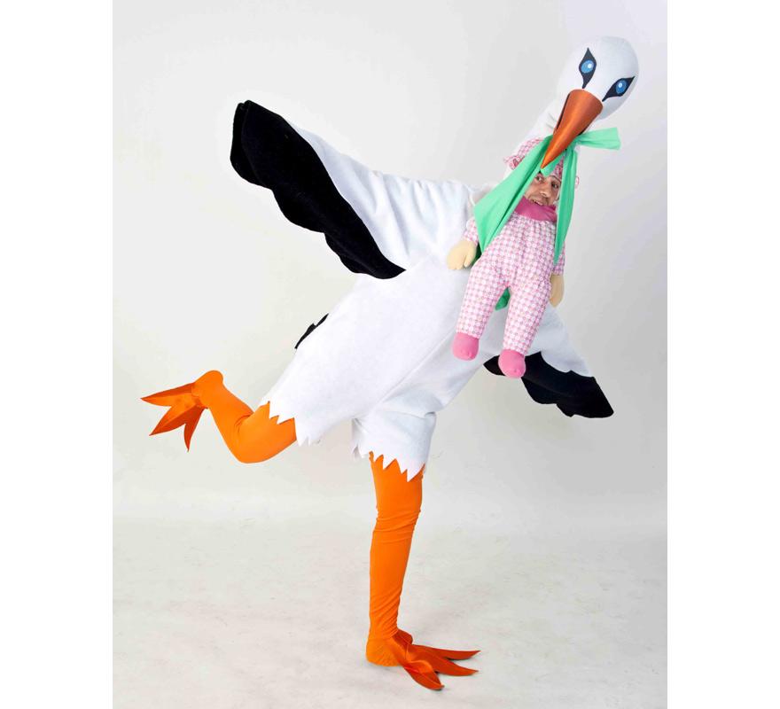 Disfraz de Cigüeña para adultos. Disponible en talla de mujer (44) y de hombre (50). Incluye disfraz completo tal y como sale en la imagen. Fabricado en España. Este traje es muy original y diferente, perfecto para Grupos, Peñas y Comparsas.