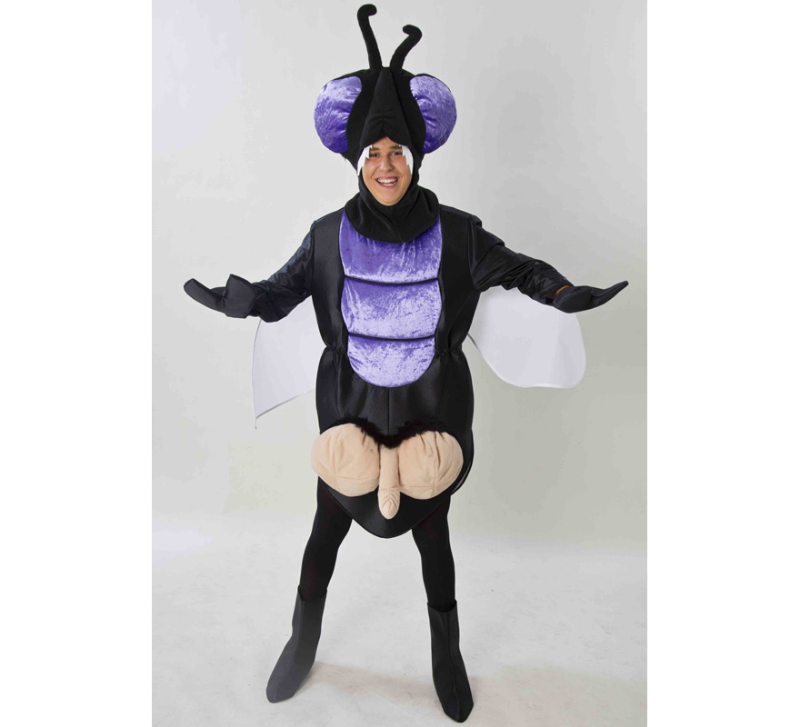 Disfraz de Mosca Cojonera para adultos. Disponible en talla de mujer (44) y de hombre (50). Incluye disfraz completo tal y como sale en la imagen. Fabricado en España. Este traje es muy original y diferente, perfecto para Grupos, Peñas y Comparsas.