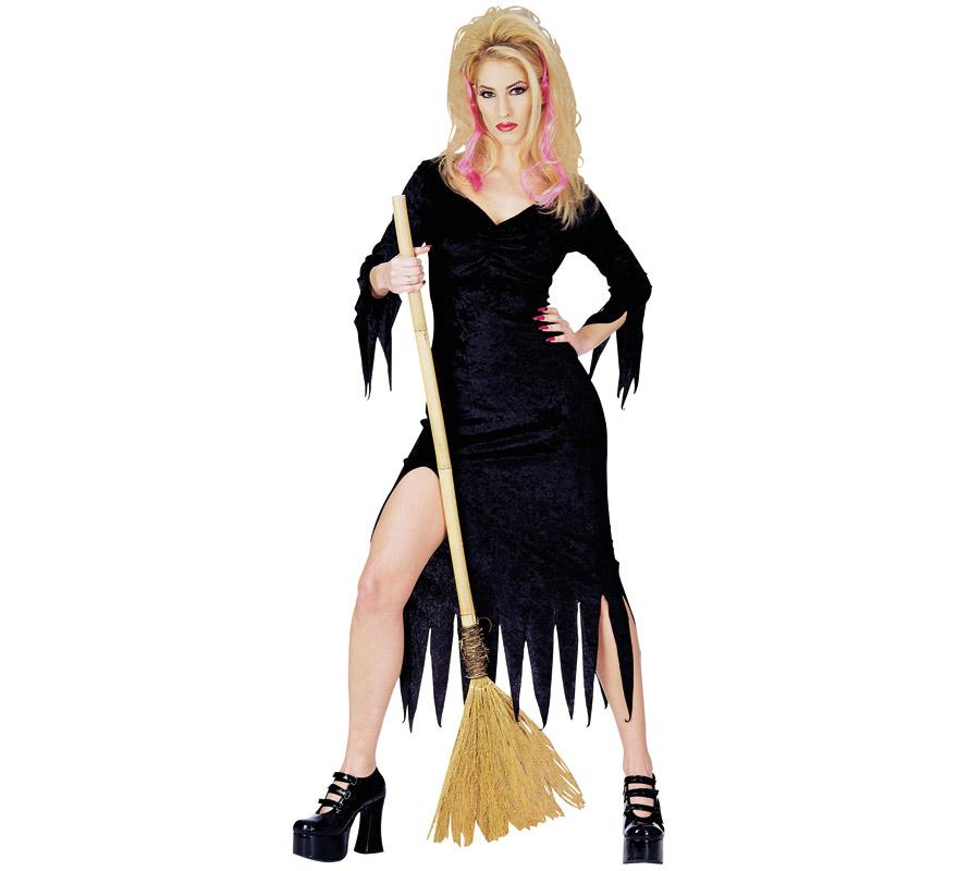 Disfraz de Bruja negra para mujer para Halloween. EMBRUJADA! En su escoba surca los cielos. Talla estándar. Incluye el vestido negro. Escoba NO incluida, podrás ver escobas en la sección Complementos.