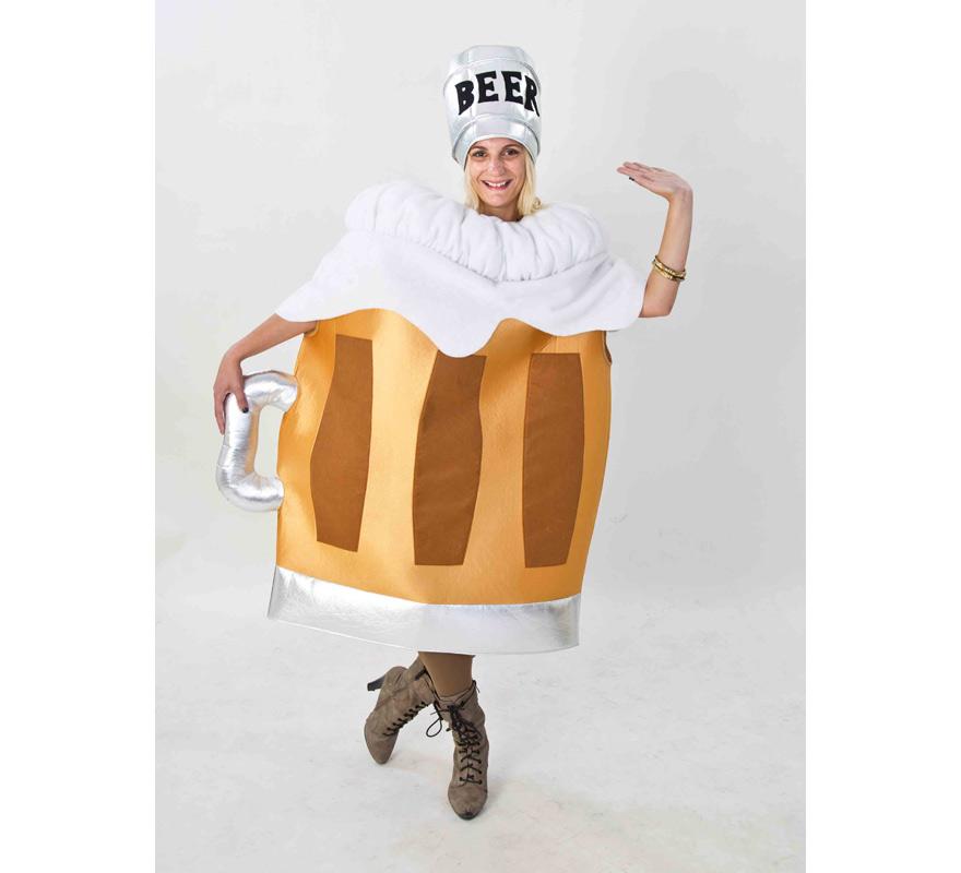 Disfraz de Jarra de Cerveza para adultos. Disponible en talla de mujer (44) y de hombre (50). Incluye disfraz completo tal y como sale en la imagen. Fabricado en España. Este traje es muy original y diferente, perfecto para Grupos, Peñas y Comparsas.