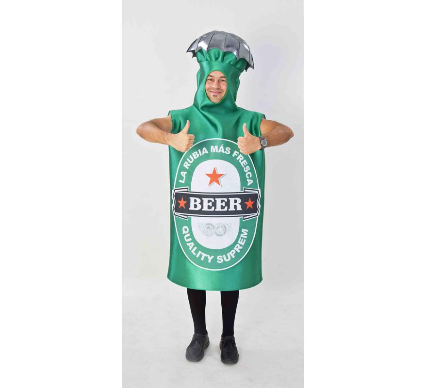 Disfraz de Botella de Cerveza para adultos. Disponible en talla de mujer (44) y de hombre (50). Incluye disfraz completo tal y como sale en la imagen. Fabricado en España. Este traje es muy original y diferente, perfecto para Grupos, Peñas y Comparsas.