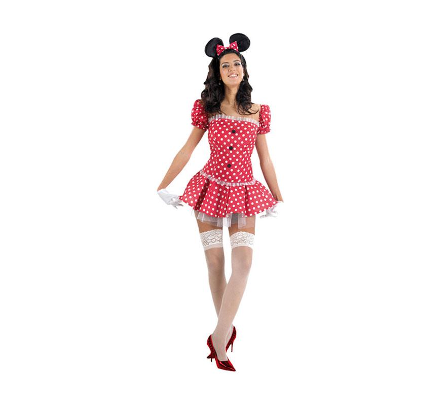 Disfraz barato de Ratoncita Sexy para mujeres. Talla 2 ó talla standard M-L 38/42. Incluye vestido, mangas y diadema. Medias y zapatos NO incluidos. Las medias podrás verlas en la sección de Complementos. Ideal para imitar a Minnie Mouse.