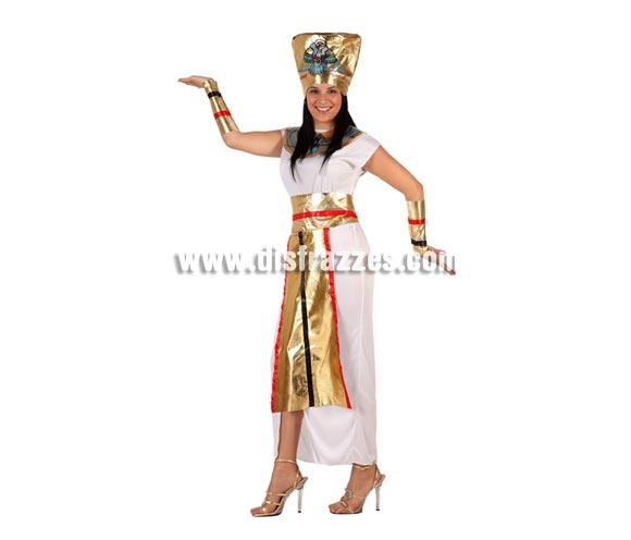 Disfraz de Faraona adulta. Talla Standar M-L = 38/42. Incluye collar, gorro, túnica, muñequeras y cinturón.