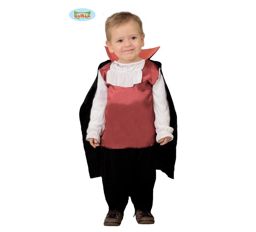 Disfraz de Vampiro o Drácula Baby para niños de 12 a 24 meses. Incluye capa, camisa y pantalón.