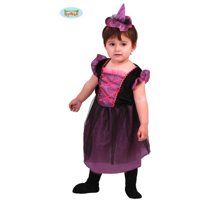 Disfraz de Brujita Baby para niñas de 1 a 12 meses. Incluye mini sombrero y vestido.