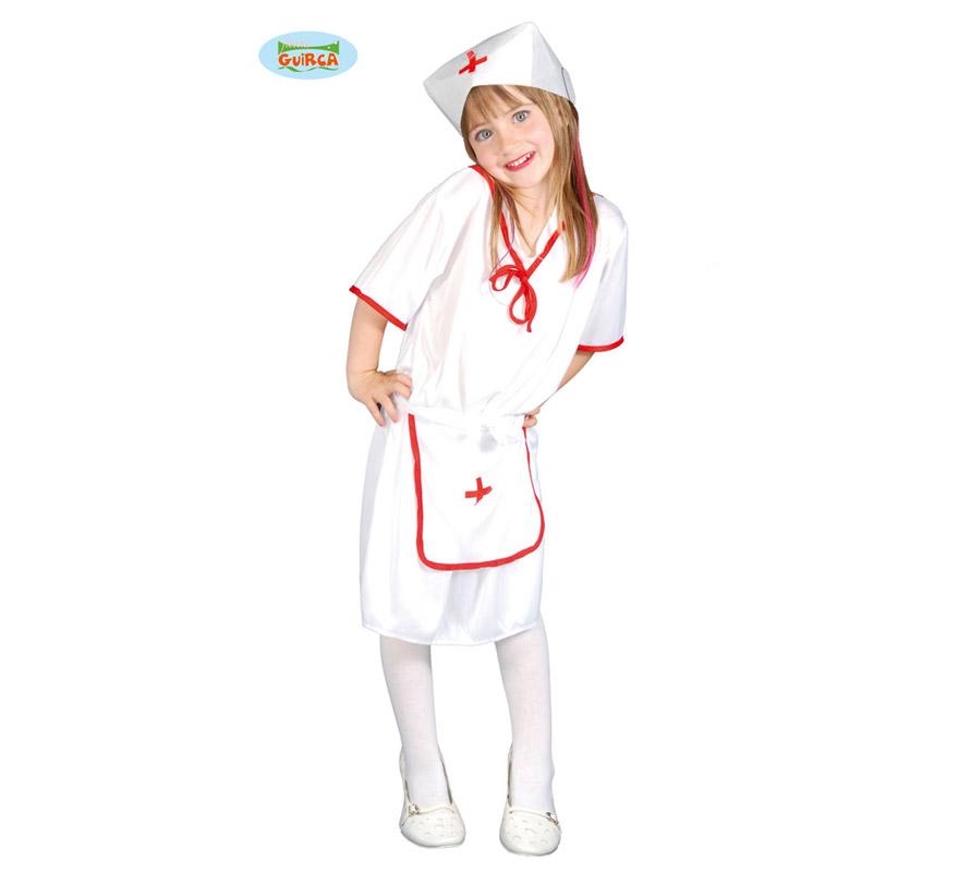 Disfraz super barato de Enfermera para niña de 4 a 6 años. Incluye Gorro, Vestido y Delantal.