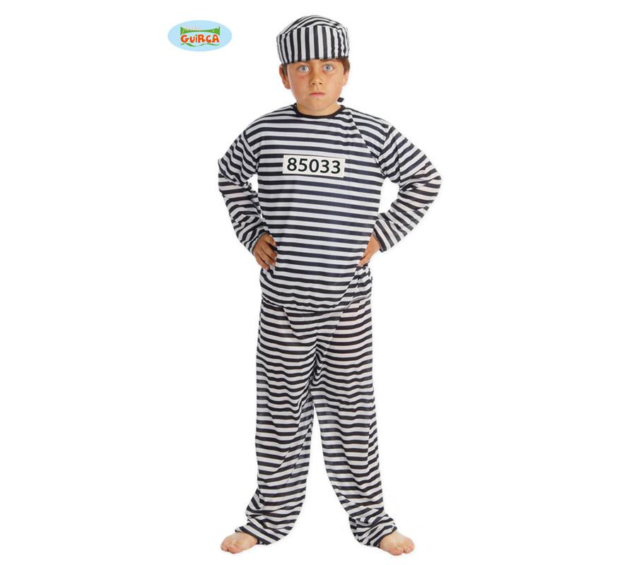 Disfraz de Presidiario infantil. Talla de 7 a 9 años. Incluye gorro, camisa y pantalón. Disfraz de Preso o Prisionero para niño.