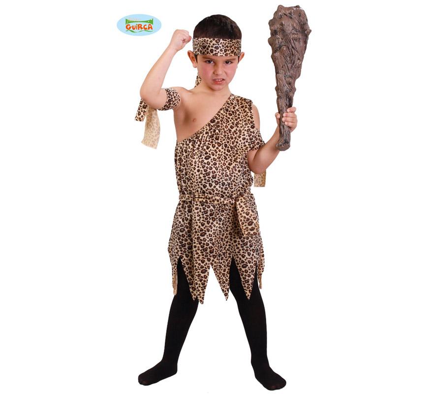 Disfraz de Troglodita o Cavernícola para niños de 7 a 9 años. Incluye vestido, cinta de la cabeza y cintas de los brazos. Porra o Maza NO incluida, podrás ver algunos modelos en la sección de Complementos.