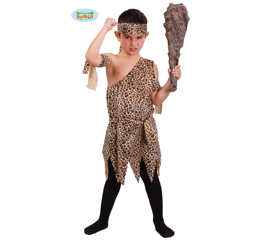 Disfraz de Troglodita o Cavernícola para niños de 10 a 12 años. Incluye vestido, cinta de la cabeza y cintas de los brazos. Porra o Maza NO incluida, podrás ver algunos modelos en la sección de Complementos.