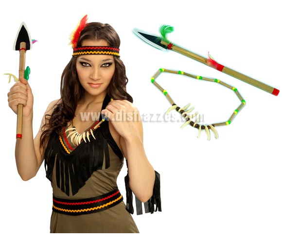 Set compuesto por hacha de Indio y collar Indio para Carnavales. Incluye o la lanza o el hacha junto con el collar Indio.