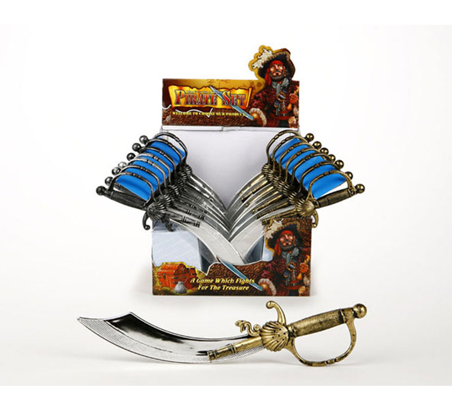 Espada de Bucanero o sable Pirata de empuñadura pequeña de 43 cm. Dos colores surtidos. Precio por unidad, se venden por separado.