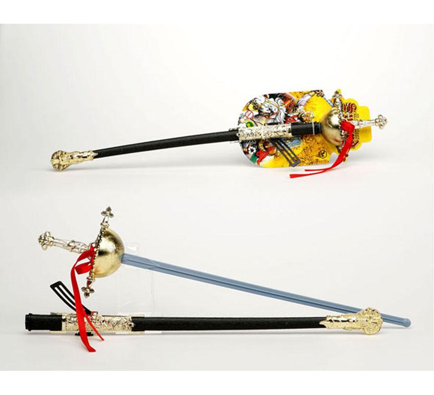 Florete con solapa de Mosquetero con funda de 69 cm. Ideal para el disfraz de Espadachín y del Zorro.