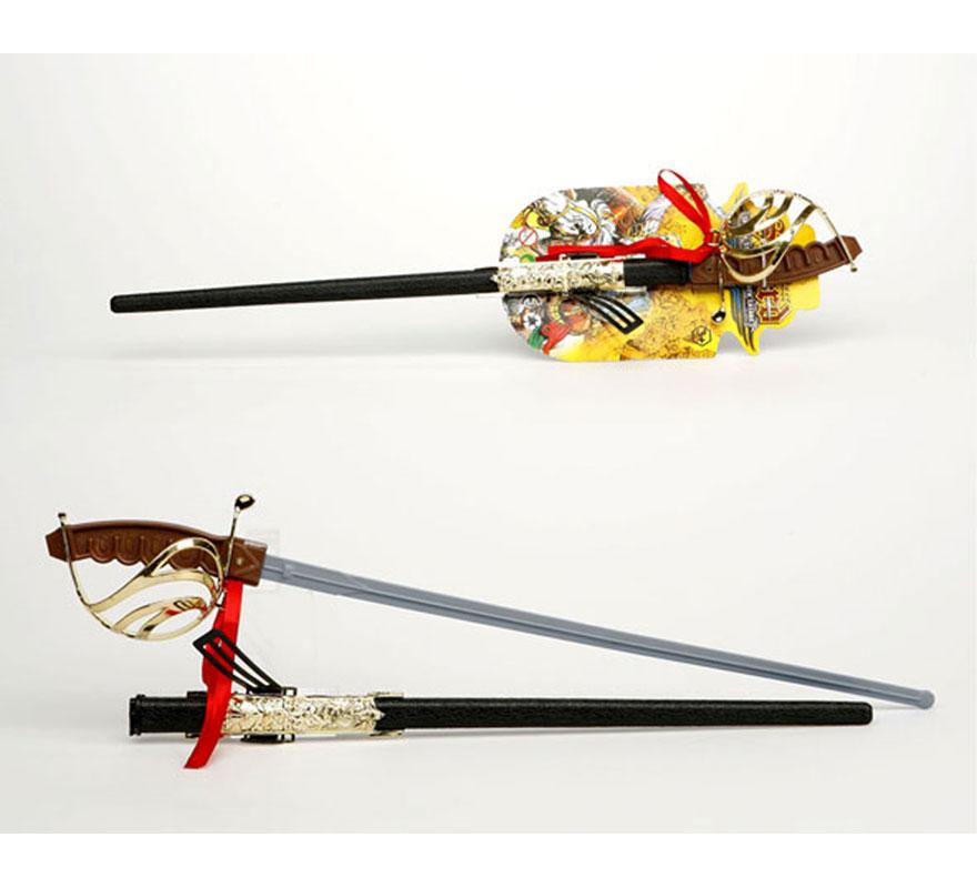 Sable de Espadachín o Espada de Mosquetero con funda de 69 cm. También valen para los disfraces del Séptimo de Caballería.