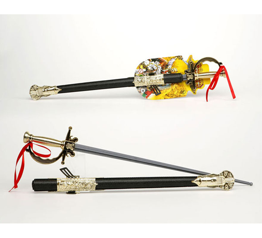Espada con solapa de Mosquetero con funda de 71 cm. También puede valer como Espada de Espadachín o de Medieval de las Cruzadas.