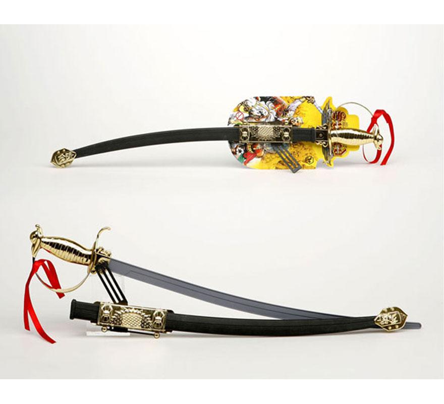 Espada con solapa Corsario con funda de 68 cm. También podría valer para el disfraz de Mosquetero, o para disfrazarse del Séptimo de Caballería, etc.