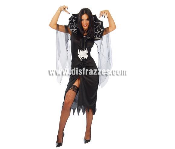 Disfraz barato de mujer Araña adulta para Halloween. Talla única válida hasta la 42/44. Incluye vestido, cinturón, cuello y gasa. Peluca NO incluida, podrás verla en la sección de Complementos de Halloween.
