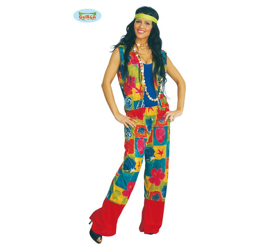 Disfraz de Hippie mujer adulta. Talla única válida hasta la 42/44. Incluye chaleco y pantalón.