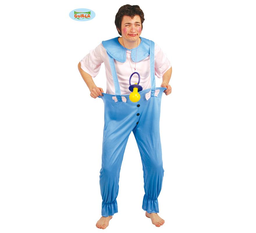 Disfraz barato de Bebé adulto para Carnavales. Talla única 52/54. Ideal para despedidas de soltero. Incluye camisa, tirantes y pantalón. Chupete NO incluido, podrás verlo en la sección Complementos. ¡¡Compra tu disfraz para Carnaval en nuestra tienda de disfraces, será divertido!!