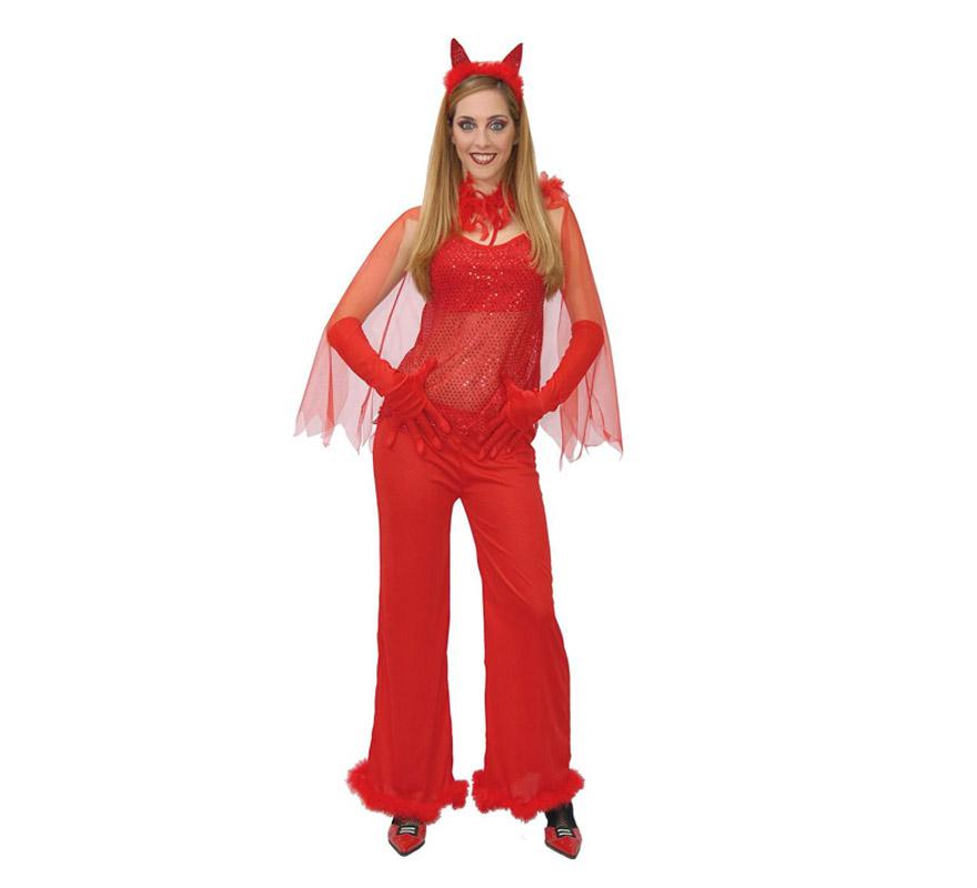 Disfraz barato de Diablesa adulta para Halloween. Talla única válida hasta la 42/44. Incluye pantalón, diadema, blusa y capa. Guantes NO incluidos, podrás verlos en la sección Complementos.