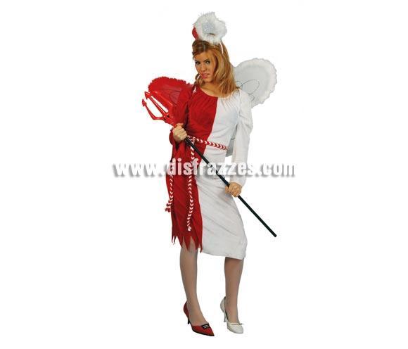 Disfraz de Angel-Demonio Adulto Económico. Talla única válida hasta la 42/44. Incluye diadema, vestido, alas y cinturón. Tridente NO incluido, podrás verlo en la sección de Complementos. Támbien es perfecto para Despedidas de Soltera, donde ese día sacamos nuestros lados más buenos y pícaros, jajajaja.