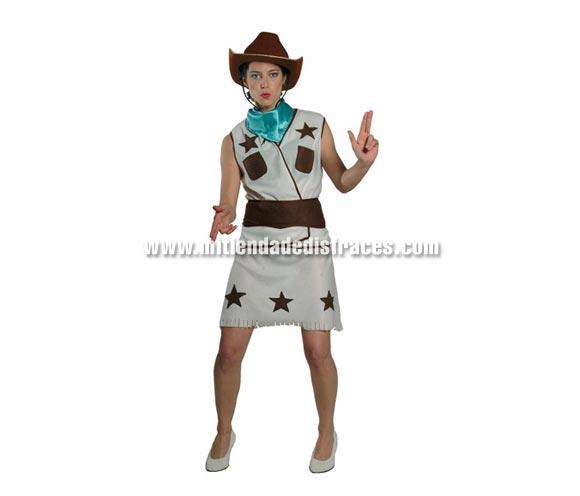 Disfraz de Vaquera adulta. Talla única válida hasta la 42/44. Incluye camisa, falda, cinturón y pañuelo.