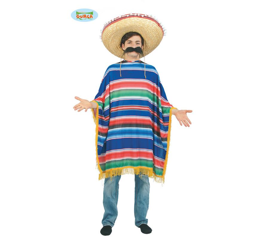 Poncho barato de Mejicano adulto para Carnavales. Talla única 52/54. Incluye Poncho. Sombrero y bigote NO incluidos. Podrás verlos en el apartado de Complementos.
