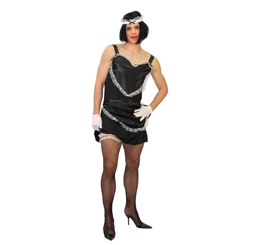 Disfraz Super barato de Camarera Hombre Adulto. Talla única 52/54. Incluye cofia, vestido, delantal y liga. Disfraz de Sirvienta ideal para Despedidas de Soltero.
