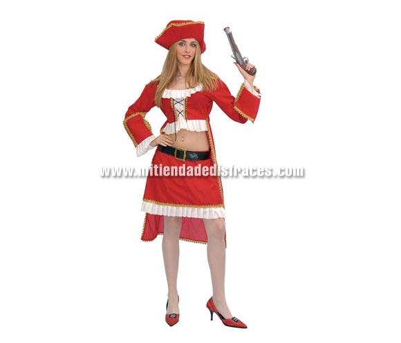Disfraz de Corsaria Adulta. Talla única válida hasta la 42/44. Incluye gorro, casaca, blusa, cinturón y falda. Trabuco NO incluido, podrás verlo en el apartado de Complementos.