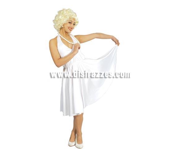 Disfraz o vestido de Marilyn para mujer. Talla única válida hasta la 42/44. Incluye vestido. Peluca y collar NO incluidos, podrás verlos en la sección de Complementos. Zapatos NO incluidos.
