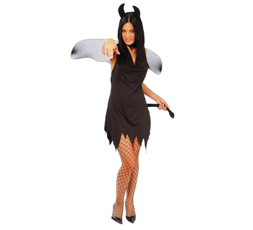 Disfraz de Diablesa adulta negro para Halloween barato. Talla única válida hasta la 42/44. Incluye diadema, alas y vestido con rabo.