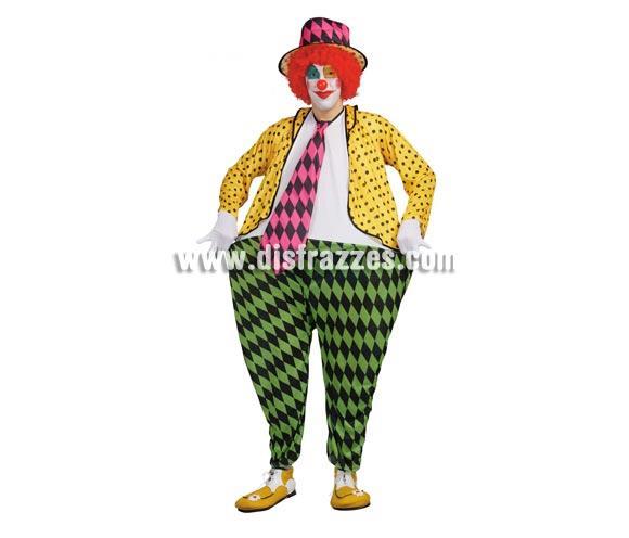 Disfraz de Payaso Gordo adulto. Talla única 50/54. Incluye gorro y traje con aro. Peluca NO incluida, podrás verla en la sección Complementos.