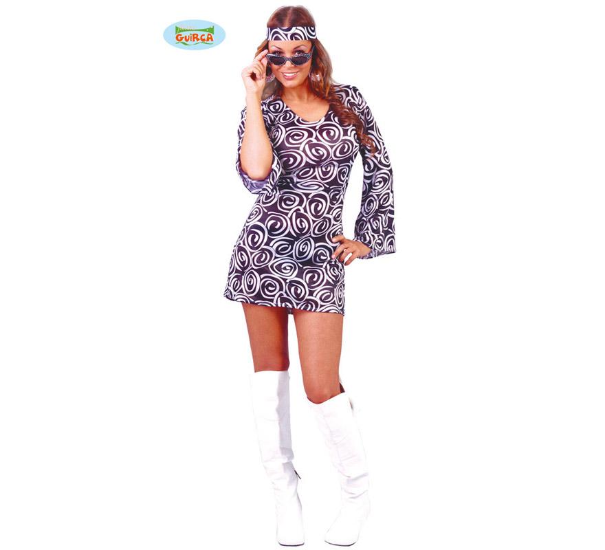 Disfraz super barato de mujer Años 60 adulta para Carnavales. Talla única hasta la 42/44. Incluye cinta de la cabeza y vestido. ¡¡Compra tu disfraz para Carnaval en nuestra tienda de disfraces, será divertido!!