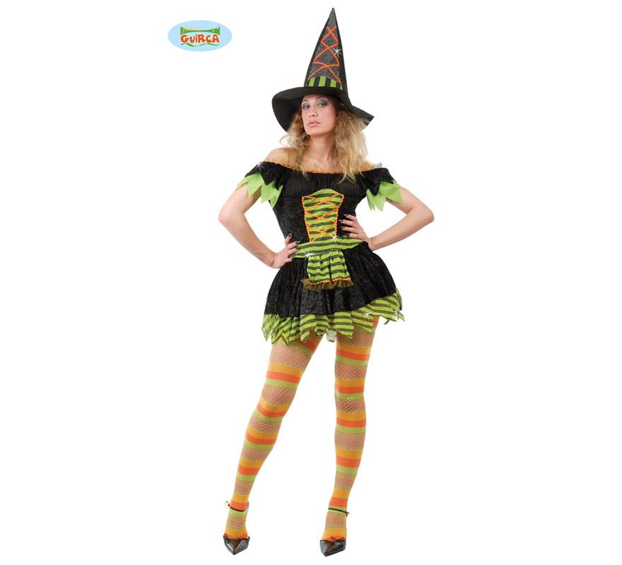 Disfraz de Bruja Sexy para Halloween adulta. Talla única 38/40. Incluye el sombrero y el vestido.