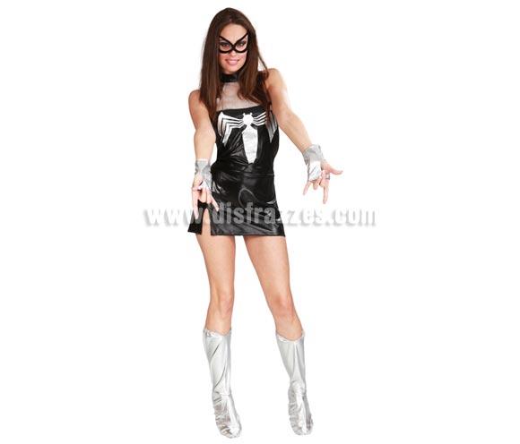 Disfraz barato de Superaraña Sexy adulta para Carnavales. Talla única 38/40. Incluye vestido, manguitos y cubrebotas. ¡¡Compra tu disfraz para Carnaval en nuestra tienda de disfraces, será divertido!!
