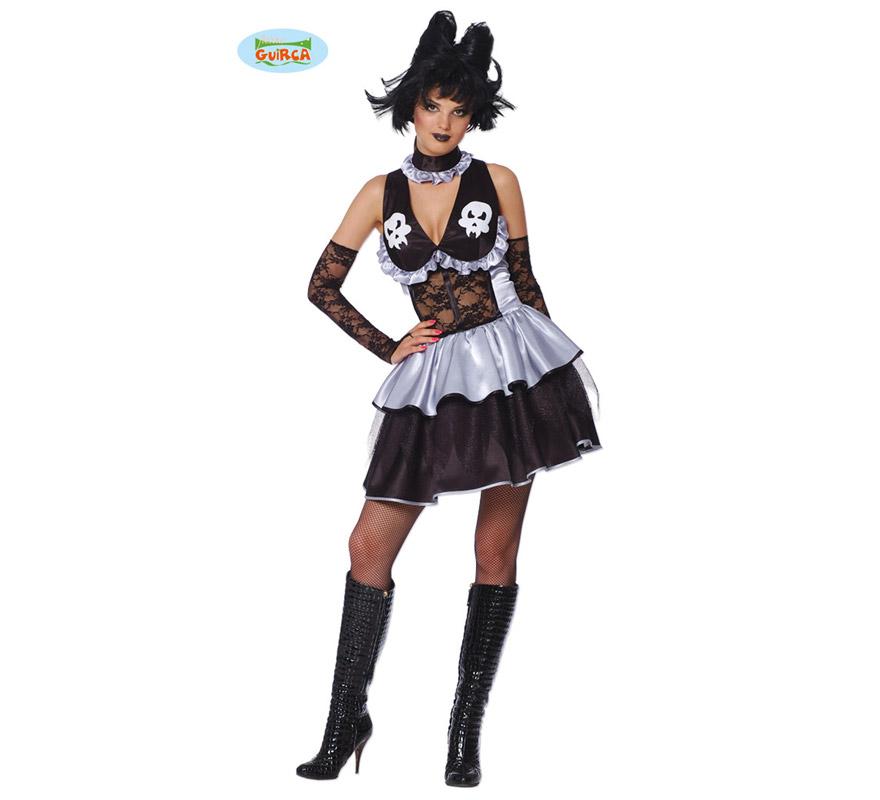 Disfraz de Bruja Gótica Sexy adulta para Halloween. Incluye vestido y guantes. Talla única válida hasta la 42/44.