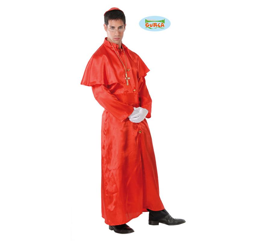 Disfraz de Cardenal rojo adulto para Carnavales. Talla única 52/54. Incluye gorrito y traje. Cruz NO incluida, podrás verla en la sección Complementos. ¡¡Compra tu disfraz para Carnaval en nuestra tienda de disfraces, será divertido!!