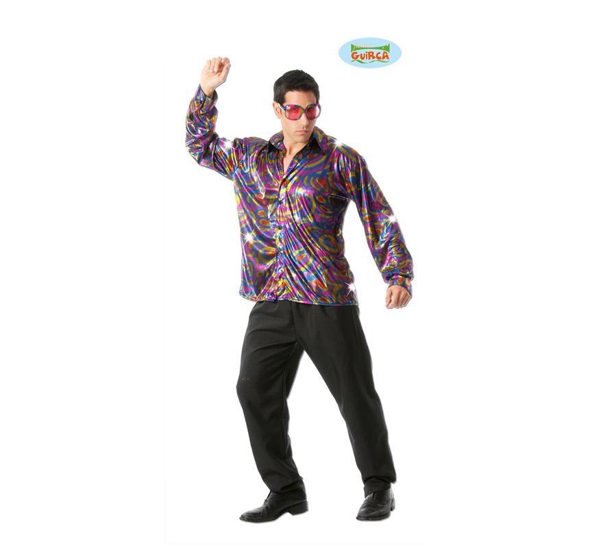 Camisa Discotequero años 60, 70, 80 para hombre. Talla Standar 52/54. El precio sólo incluye la camisa estampada.
