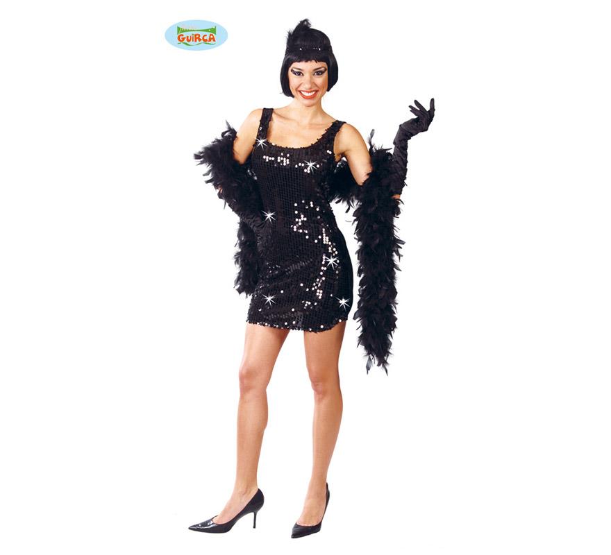 Disfraz de Charlestón negro para mujer. Talla única 38/40. Incluye cinta de la cabeza y vestido. Tejido de alta calidad con lentejuelas. Boa NO incluida, podrás verla en la sección de Complementos.