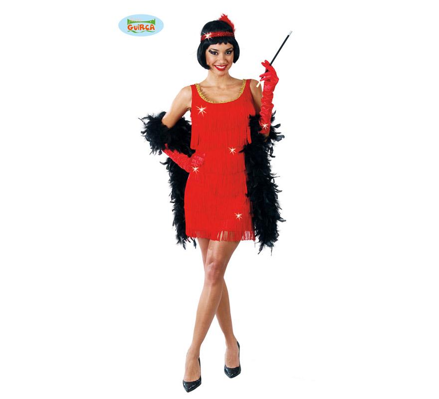 Disfraz de Charlestón rojo para mujer. Talla única 38/40. Incluye cinta de la cabeza y vestido. Pipa y boa NO incluidas, podrás verlas en la sección de Complementos.